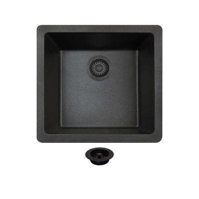 All-in-One Undermount Composite 18 in. Single Basin Kitchen Sink in Black