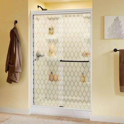 Simplicity 47-3/8 in. x 70 in. Sliding Shower Door in White with Bronze Hardware and Semi-Framed Ojo Glass
