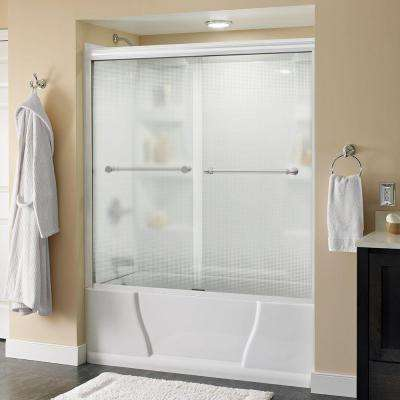 Silverton 60 in. x 58-1/8 in. Semi-Framed Sliding Tub Door in White with Droplet Glass and Bronze Handle