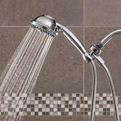 9-Spray 4.5 in. Single Wall Mount Low Flow Handheld Adjustable Shower Head in Chrome