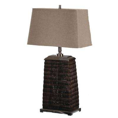 31.5 in. Charcoal Stain Rattan and Burnished Steel Metal Table Lamp -DISCONTINUED