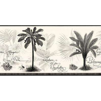 10.25 in. x 15 ft. Black and White Palm Tree Border