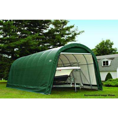 ShelterCoat 15 ft. x 28 ft. Wind and Snow Rated Garage Round Green STD