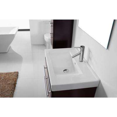 Antonio 30 in. W Bath Vanity in Espresso with Ceramic Vanity Top in White with Square Basin and Mirror and Faucet