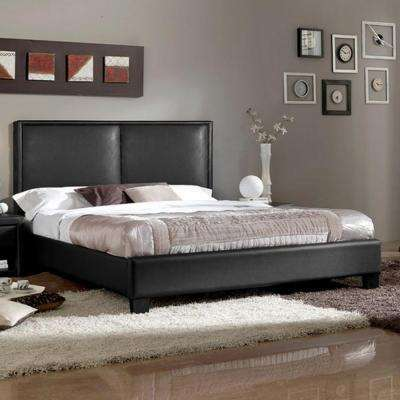 Moderne Contemporary Black Faux Leather Upholstered Queen Size Bed