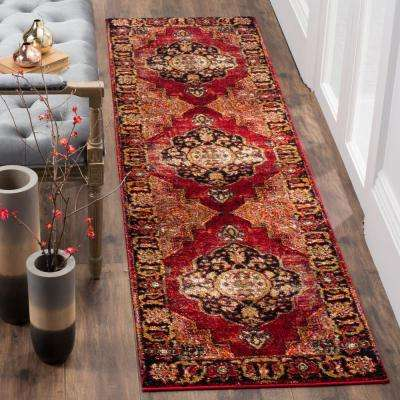 Vintage Hamadan Red/Multi 2 ft. x 12 ft. Runner Rug