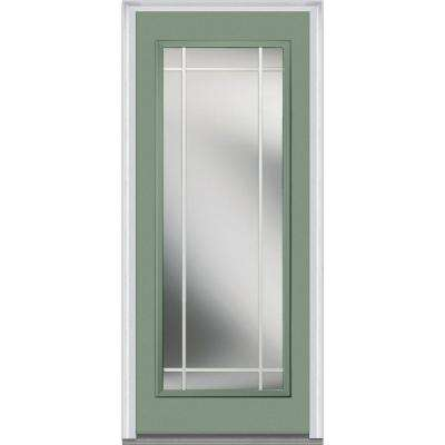 32 in. x 80 in. Prairie Internal Muntins Left-Hand Full Lite Classic Painted Steel Prehung Front Door