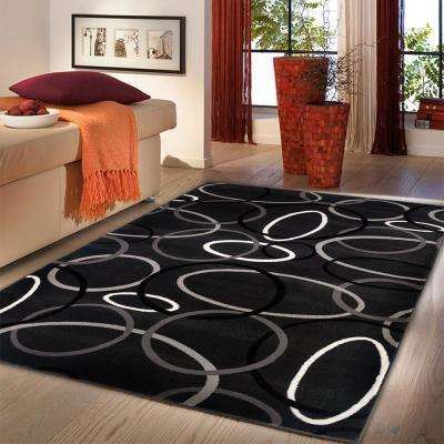 Contemporary Charcoal Rectangle 8 ft. x 10 ft. Plush Indoor Area Rug