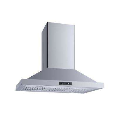 36 in. Convertible Island Mount Range Hood in Stainless Steel with Stainless Steel Baffle Filters