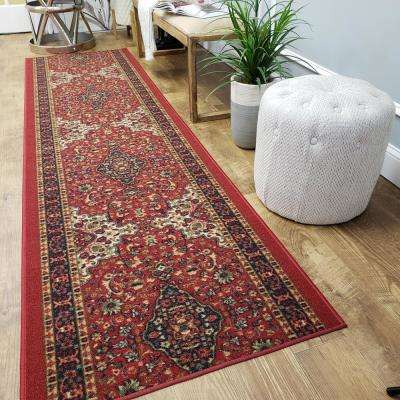 Hamam Collection Red 3 ft. x 10 ft. Runner Rug
