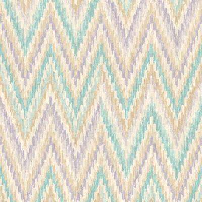 Metallic Static Zigzag Abstract Teal and Purple Wallpaper