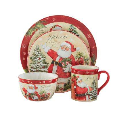 Holiday Wishes 16-Piece Seasonal Assorted Colors Ceramic Dinnerware Set (Service for 4)