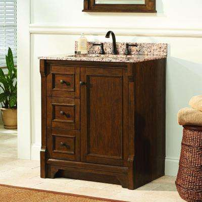 Creedmoor 31 in. W x 22 in. D Vanity in Walnut with Granite Vanity Top in Giallo Ornamental with White Sink