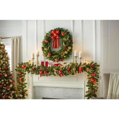 36 in. Pre-Lit LED New Plaza Artificial Wreath with 50 Warm White Lights