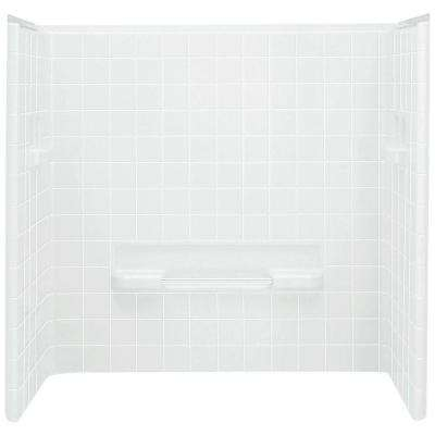 All Pro 60 in. x 31-1/2 in. x 59 in. 3-Piece Direct-to-Stud Tub Surround in White