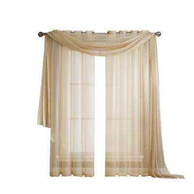 Solid Voile Sheer 216 in. L Polyester Curtain Scarf in Beige