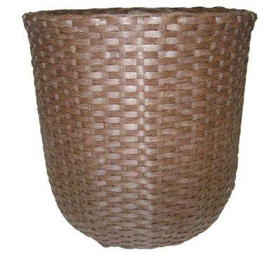 13 in. Round Resin Rattan Planter (Case of 4)