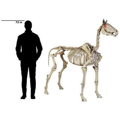 74 in. Halloween Standing Skeleton Horse