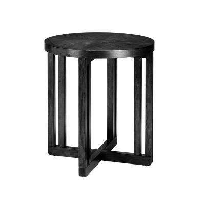 Cerushed Black Round End Table-DISCONTINUED