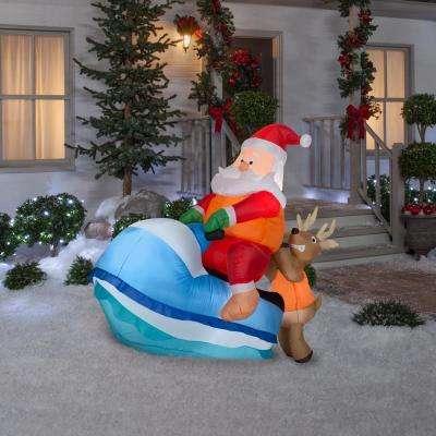 5 ft. Pre-Lit Inflatable Santa on Watercraft Sleigh Scene