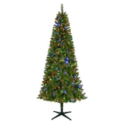 7.5 ft. Pre-Lit LED Wesley Slim Spruce Artificial Christmas Tree with 350 Color Changing Lights