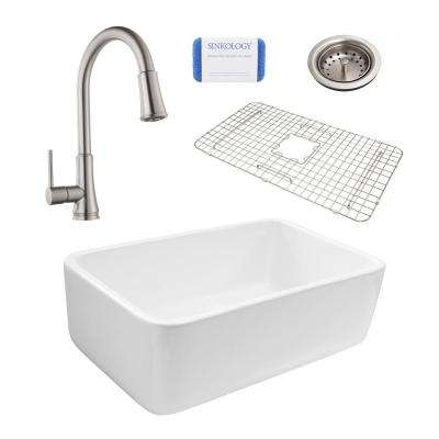 Bradstreet Reversible All-In-One Farmhouse Fireclay 30.5 in. Single Basin Kitchen Sink with Pfister Stainless Faucet