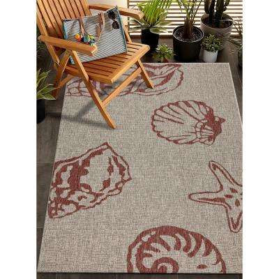 Captiva Red/Beige 7 ft. 9 in. x 9 ft. 5 in. Rectangle Indoor/Outdoor Area Rug