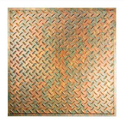 Diamond Plate - 2 ft. x 2 ft. Revealed Edge Lay-in Ceiling Tile in Copper Fantasy