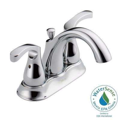 Denim 4 in. Centerset 2-Handle Bathroom Faucet with Metal Drain Assembly in Chrome
