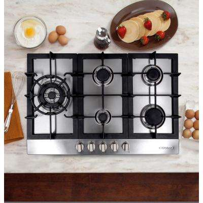 34 in. Gas Cooktop in Stainless Steel with 5 Sealed Brass Burners including 16000 BTU Jet Nozzle Burner