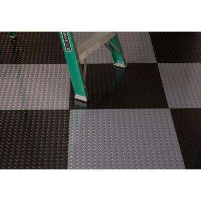 RaceDay Diamond Tread Midnight Black 24 in. x 24 in. Peel and Stick Polyvinyl Tile (40 sq. ft. / case)