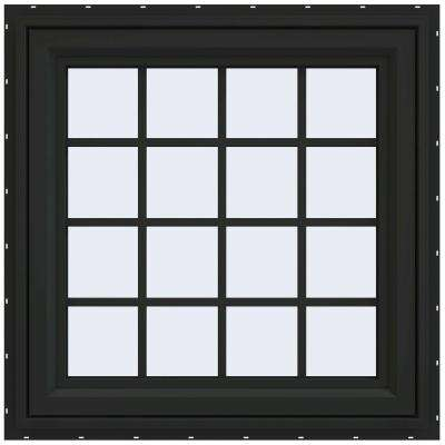 29.5 in. x 29.5 in. V-4500 Series Right-Hand Casement Vinyl Window with Grids - Bronze