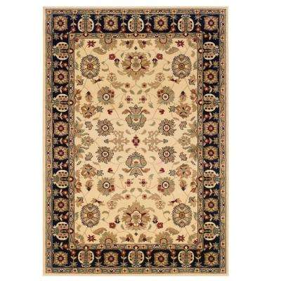 Traditional Cream and Black 5 ft. 3 in. x 7 ft. 5 in. Plush Indoor Area Rug