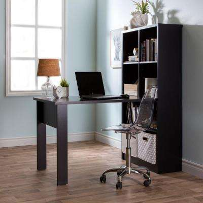 Annexe Straight Laminate Particleboard Computer Desk with Chair in Pure Black