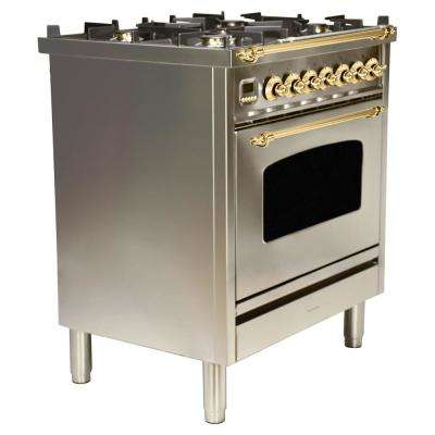 30 in. 3.0 cu. ft. Single Oven Italian Gas Range with True Convection, 5 Burners, Brass Trim in Stainless Steel