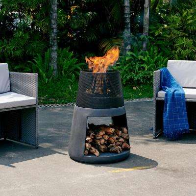 29.25 in. Outdoor Conic Wood Burning Faux Stone Fire Pit Chimenea