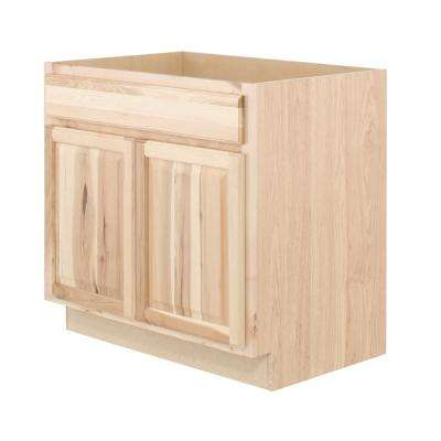 Hampton Bay Hampton Assembled 36x34.5x24 inch Sink Base Kitchen Cabinet in Natural Hickory