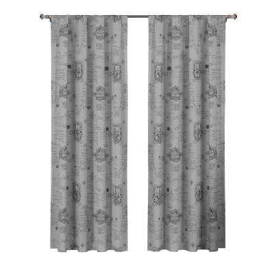 Fleur Del Lis Printed Cotton Dark Gray Rod Pocket Extra Wide Curtain Panel - 52 in. W x 84 in. L