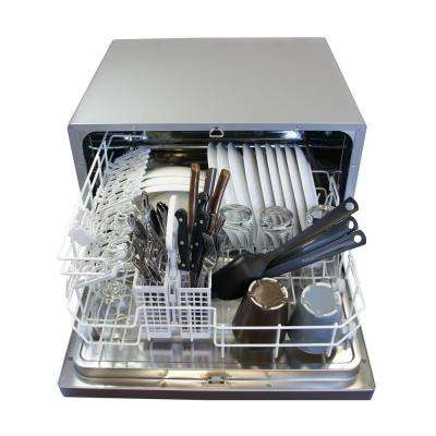 Countertop Dishwasher in Silver with 6 Wash Cycles and Delay Start
