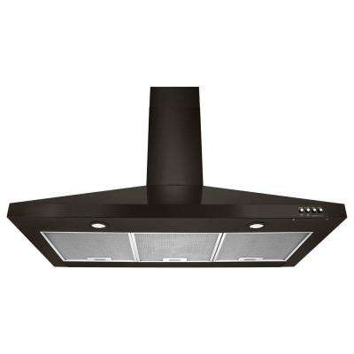 36 in. Contemporary Black Stainless Wall Mount Range Hood in Black Stainless Steel