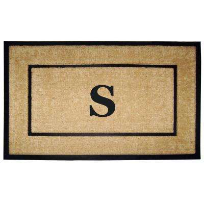 DirtBuster Single Picture Frame Black 30 in. x 48 in. Coir with Rubber Border Monogrammed S Door Mat