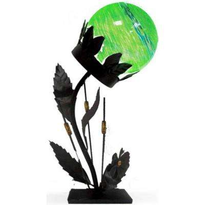 18 in. Solar Glass Flower Table Lamp with Green Light
