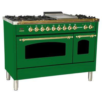 48 in. 5.0 cu. ft. Double Oven Dual Fuel Italian Range True Convection, 7 Burners, Griddle,Brass Trim in Emerald Green