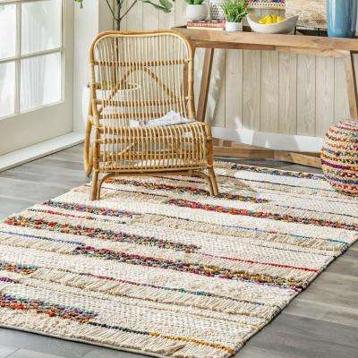 Kinsey Striped Chindi Red 5 ft. x 8 ft. Area Rug