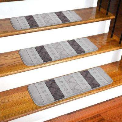 Softy Collection Grey Striped Design 9 in. x 26 in. Rubber Back Stair Tread Cover (Set of 7)