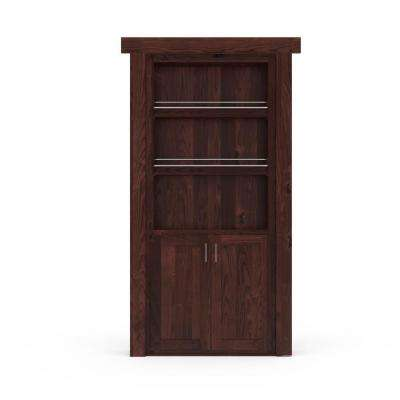 32 in. x 80 in. Flush Mount Assembled Forward Pantry Door Alder Dark Stained Left-Hand Inswing