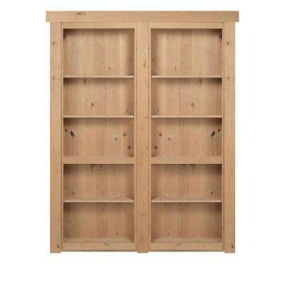 72 in. x 80 in. Flush Mount Assembled Alder Unfinished Out-Swing Solid Core Interior French Bookcase Door