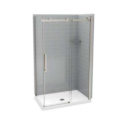 32 in. x 48 in. x 83.5 in. Corner Shower Kit in Metro Ash Grey with Brushed Nickel Door