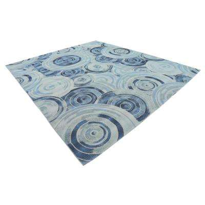 Outdoor Rippling Light Blue 10' 0 x 12' 0 Area Rug