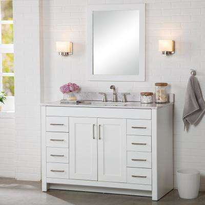 Westcourt 49 in. W x 22 in. D Bath Vanity in White with Stone Effect Vanity Top in Pulsar with White Sink